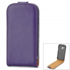 Protective Genuine Leather Flip-Open Case for Samsung Galaxy S3 Mini i8190 - Purple