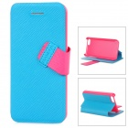 Baseus Protective PC Back Case + PU Leather Cover Stand for Iphone 5C - Blue + Deep Pink