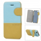 Baseus Protective PU Leather + PC Case Cover Stand for Iphone 5C - Blue + Ochre Yellow