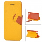 Baseus Protective PC Back Case + PU Leather Cover Stand for Iphone 5C - Yellow + Brown