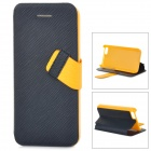 Baseus Protective PC Back Case + PU Leather Cover Stand for Iphone 5C - Black + Yellow
