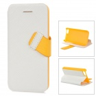 Baseus Protective PC Back Case + PU Leather Cover Stand for Iphone 5C - White + Yellow