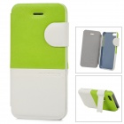 Baseus Protective PU Leather + PC Case Cover Stand for Iphone 5C - White + Green