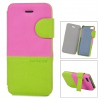 Baseus Protective PU Leather + PC Case Cover Stand for Iphone 5C - Carmine + Green