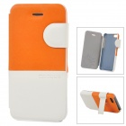 Baseus Protective PU Leather + PC Case Cover Stand for Iphone 5C - Orange + White