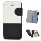 Baseus Protective PU Leather + PC Case Cover Stand for Iphone 5C - White + Black