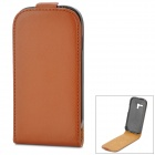 Protective Genuine Leather Flip-Open Case for Samsung Galaxy S3 Mini i8190 - Brown
