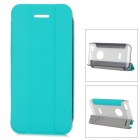 Baseus Protective PC Back Case + PU Leather Cover Stand for Iphone 5C - Cyan + Translucent Grey