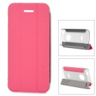 Baseus Protective PC Back Case + PU Leather Cover Stand for Iphone 5C - Pink + Translucent Grey