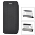Baseus Protective PC Back Case + PU Leather Cover Stand for Iphone 5C - Black + Translucent Grey