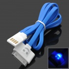 Smiling Face Style USB 2.0 Male to 30-Pin Male Data Charging Cable - Blue + White (100cm)