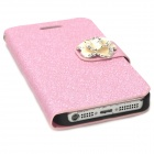Protective PU Leather + Plastic Case for Iphone 5 - Light Purple