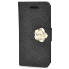 Protective Flower Decoration PU Leather Flip Open Case for iPhone 5 - Black