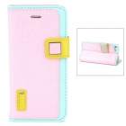 HELLO DEERE Ice Crystal Series PU Leather Flip Open Case fo Iphone 5 - Pink + Blue + Yellow