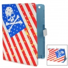 Skull Pattern Protective PU Leather Smart Case for Ipad 2 / 3 / 4 - Red + White + Blue