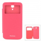 NEWTONS Super Slim PU Leather Flip Open Smart Case w/ Transparent Window for Samsung i9200 - Red
