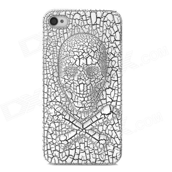 Crack Skull Pattern Protective Plastic Case for Iphone 4 / 4S - White iris pattern protective plastic back case for iphone 4 4s white