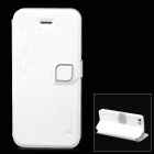 HELLO DEERE Feather Silk Series PU Leather Case for iPhone 5 - White