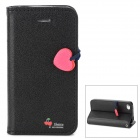 HELLO DEERE PU Leather Flip Open Case w/ Strap for Iphone 4 - Black + Deep Pink