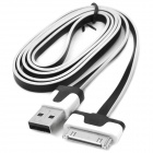USB Male to Apple 30pin Male Flat Data Cable - White + Black (98cm)