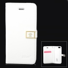 HELLO DEERE Jotter Series PU Leather Flip Open Case for iPhone 5 - White