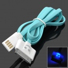 Smiling Face Style USB 2.0 Male to 30-Pin Male Data Charging Cable for iPhone 4 / 4S - Blue + White