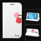 HELLO DEERE Cherry Series PU Leather Flip Open Case w/ Strap for Samsung Galaxy S4 - White + Red