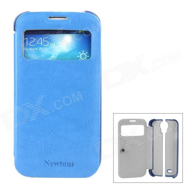 NEWTONS Ultrathin PU Leather Flip Open Case w/ Transparent Window for Samsung i9500 - Blue + White protective pu leather flip open case w display window for samsung galaxy note 3 black yellow