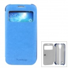 NEWTONS Ultrathin PU Leather Flip Open Case w/ Transparent Window for Samsung i9500 - Blue + White