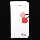HELLO DEERE PU Leather Flip Open Case w/ Strap for iPhone 5 - White + Red