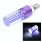 E14 1W 90lm 6500K LED White Light Cylindrical Crystal Style Lamp - Purple + Silver (85~260V)