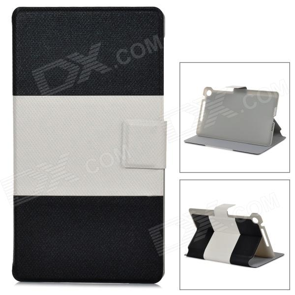 Protective Flip Open PU Leather Case w/ Card Slot for Google Nexus 7 II - Black + White wireless bluetooth v3 0 keyboard w folding pu leather case for google asus nexus 7 black