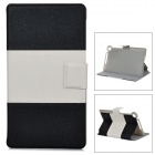 Protective Flip Open PU Leather Case w/ Card Slot for Google Nexus 7 II - Black + White