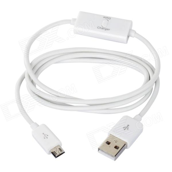 USB Male to Micro USB Male Charging Data Cable w/ Switch for Samsung Galaxy Tab 3 - White (100 CM) flat micro usb male to usb 2 0 male data sync charging cable for samsung more purple 100cm