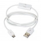 USB Male to Micro USB Male Charging Data Cable w/ Switch for Samsung Galaxy Tab 3 - White (100 CM)