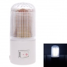 3W 6000K 60lm 6-LED White Light Small Night Lamp - White (180~250V / 2-Flat-Pin Plug)