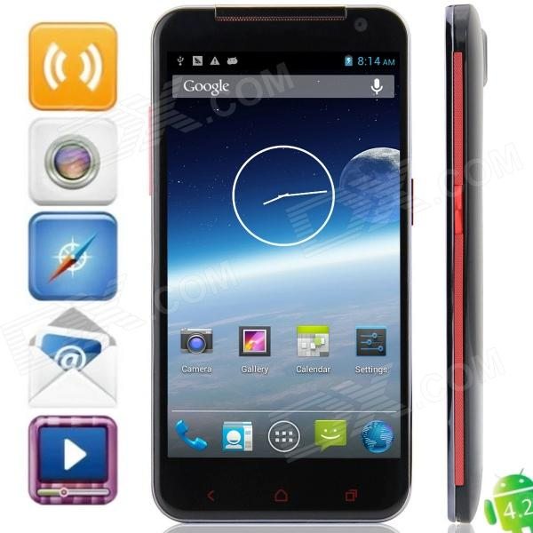 "U930 MTK6572 Android 4.2.2 WCDMA Bar Phone w / 5.0 "", Tri Network Standby, Wi-Fi et GPS - noir + rouge"