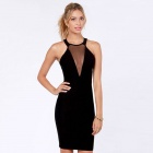 LC2943-2 Fashionable Sexy Cutout Halter Women's Dress - Black (Free Size)