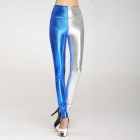 LC79204-2 Fashionable Women's High Waist Metallic Legging - Blue + Silver (Free Size)