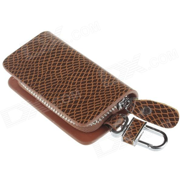 PU Leather Snake Texture Zipper Car Key Holder Case Bag - Brown bamboo texture pu leather zipper car key holder case bag reddish brown