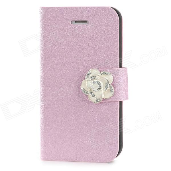 Silk Grain Camellia Style Protective PU Leather + Plastic Case for Iphone 4 / 4S - Pink protective pu leather plastic case w display window for iphone 4 4s maroon