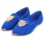 Fashionable Suede Flats / Flat Shoes w/ Decorative Leopard Head - Blue + Golden (37)