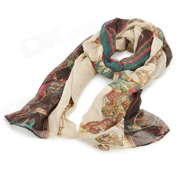 Reteo Stylish Carriage Chain Pattern Cotton Yarn Tippet Muffler Scarf - Multicolored