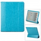 L.LA E-BAG-04 Protective Four Folding PU Leather Case for iPad 4 - Blue