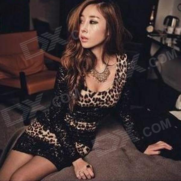 YDC-006 Sexy Leopard Pattern Long Sleeve Lace + Ice Silk Dress - Black + Brown