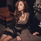 Sexy Leopard Pattern Long Sleeve Lace + Ice Silk Dress - Black + Brown