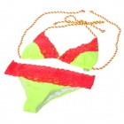 RELLECIGA 033131001-314L Lace Tying Band Triangle Cup Bikini Swimsuit  - Fluorescent Green + Red (L)
