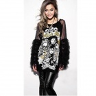 PKLYC-001 Stylish Punk Style Graffiti Skull Pattern Long Sleeve Cotton Dress - Black