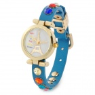 Eiffel Tower Pattern Analogue Quartz Wrist Watch w/ Shiny Colorful Crystal Leather Band (1 x 377)