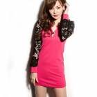 "Sexy ""V"" Collar Long Sleeve Lace + Blending Cotton Dress - Deep Pink + Black"